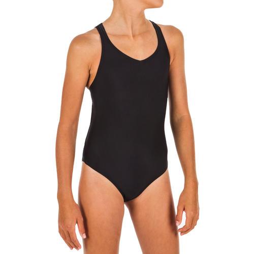 Maillot de bain natation synchronisée (artistique) fille une pièce noir