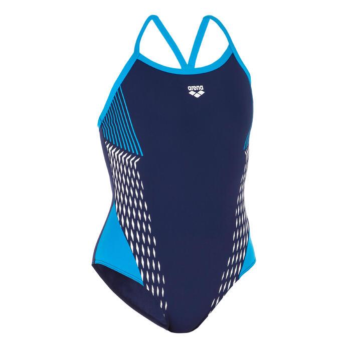 Sportbadpak voor zwemmen dames Drop Back zwart/blauw