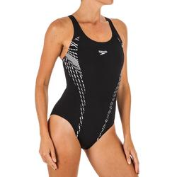 Eendelig badpak voor zwemsport Speedo Panel MSBK zwart/wit