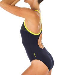 Sportbadpak zwemsport dames PLMT Thinstrap blauw/geel