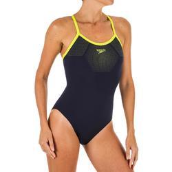 Sportbadpak dames PLMT Thinstrap blauw/geel