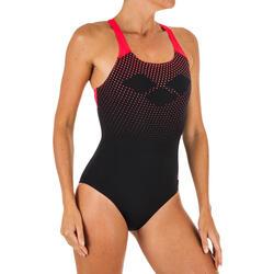 Fato de banho de natação Arena Swim Pro Back preto vermelho Mulher