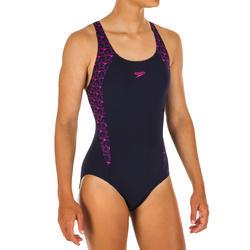 Sportbadpak voor zwemmen meisjes blauw/roze