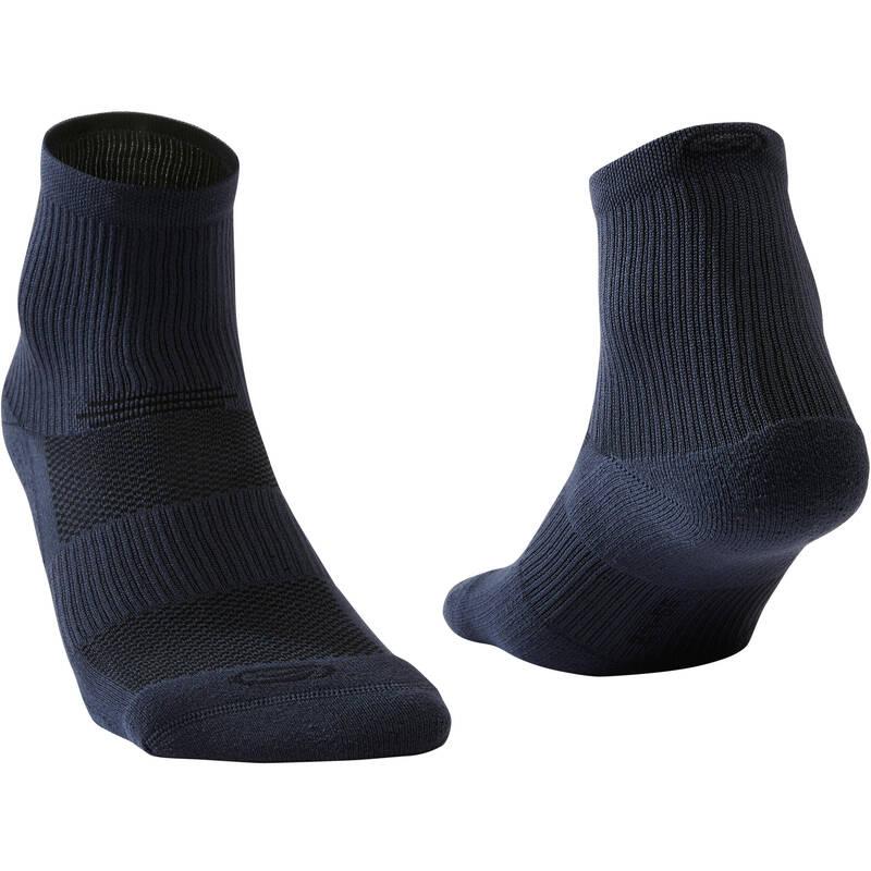 BĚŽECKÉ PONOŽKY DOSPĚLÍ Atletika - PONOŽKY RUN500 MID ČERNÉ  KIPRUN - Atletické boty a tretry