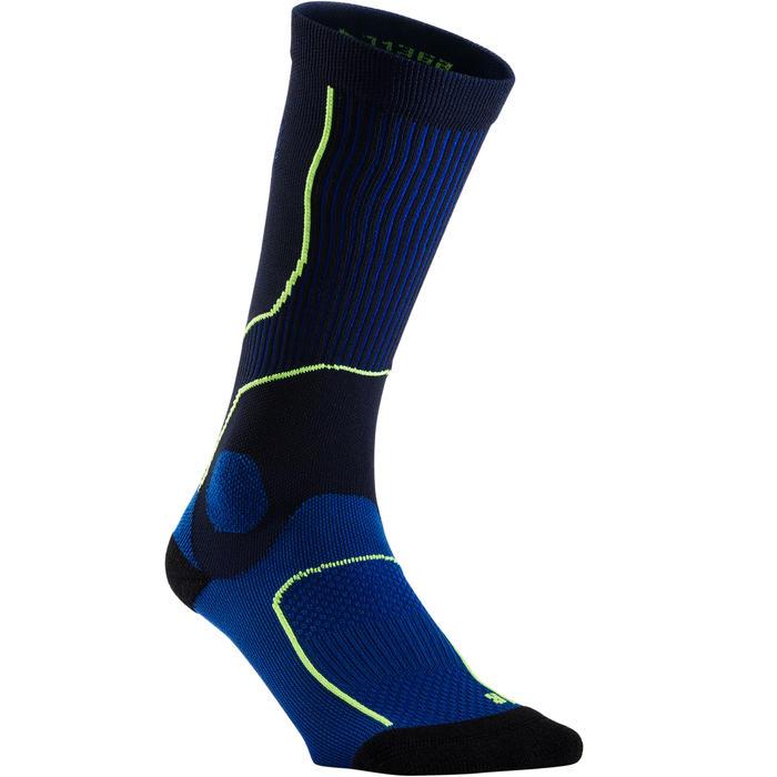 Compressiekousen voor hardlopen geel/marineblauw