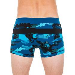 Badehose Boxer 100 Pool Camo Herren blau/schwarz