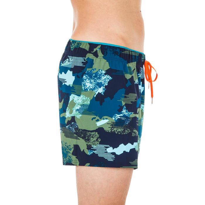 Korte zwemshort heren 100 camouflagemotief blauw/kaki