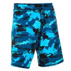 Lange zwemshort voor heren 100 camouflage blauw/zwart