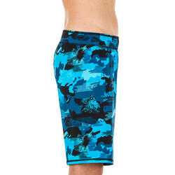 MEN'S SWIMMING LONG SWIM SHORTS 100 - CAMO BLUE BLACK