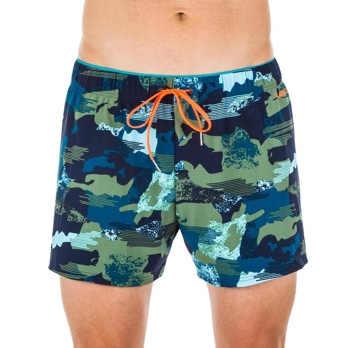 Korte zwemshort voor heren 100 camouflagemotief blauw/kaki