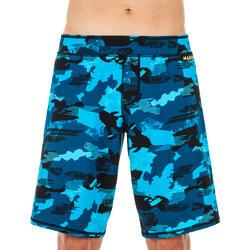 男款長版四角泳褲100 - 迷彩藍黑色