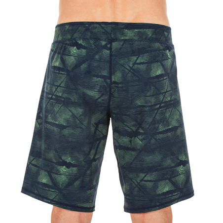 MEN'S LONG SWIMMING SWIM SHORTS 100 - TEX KHAKI