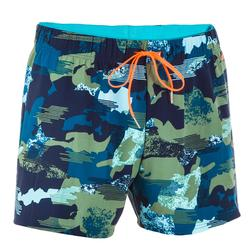 Men's Swimming Short Swim Shorts 100 - Camo Blue Khaki