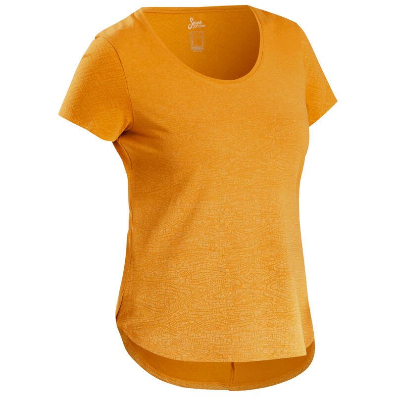 Camiseta Manga Corta de Montaña y Trekking Quechua NH500 Mujer Amarillo