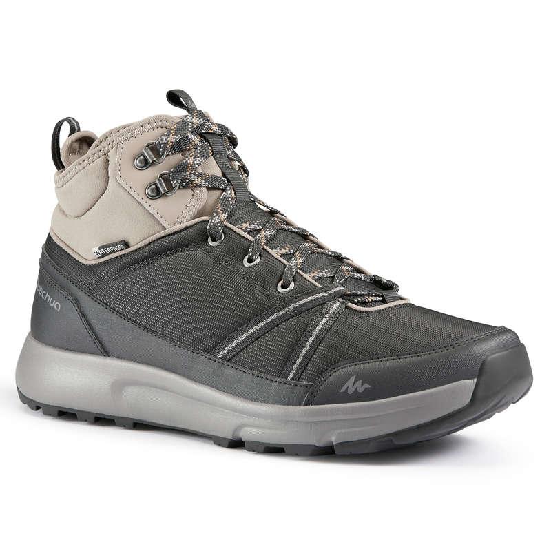 МУЖСКАЯ ОБУВЬ / прогулки на природе Большие размеры - Ботинки серые NH150 Mid WP QUECHUA - Большие размеры
