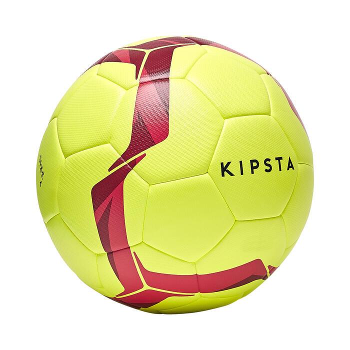 Ballon de football hybride F100 light taille 5 jaune fluo et rose