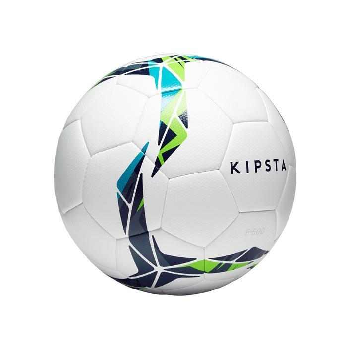 Fußball F500 Hybrid Größe4 weiß/blau/grün