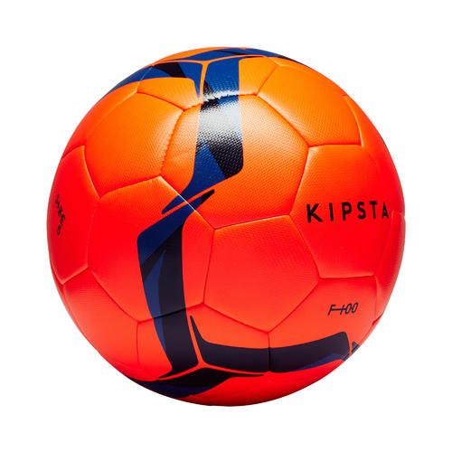 Ballon de football Hybride F100 taille 5 orange et bleu