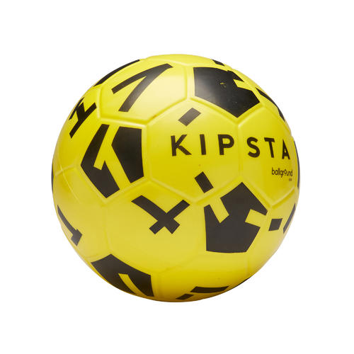 BALLON DE FOOT EN MOUSSE PEDAGOGIQUE BALLGROUND 500 T4 JAUNE ET NOIR