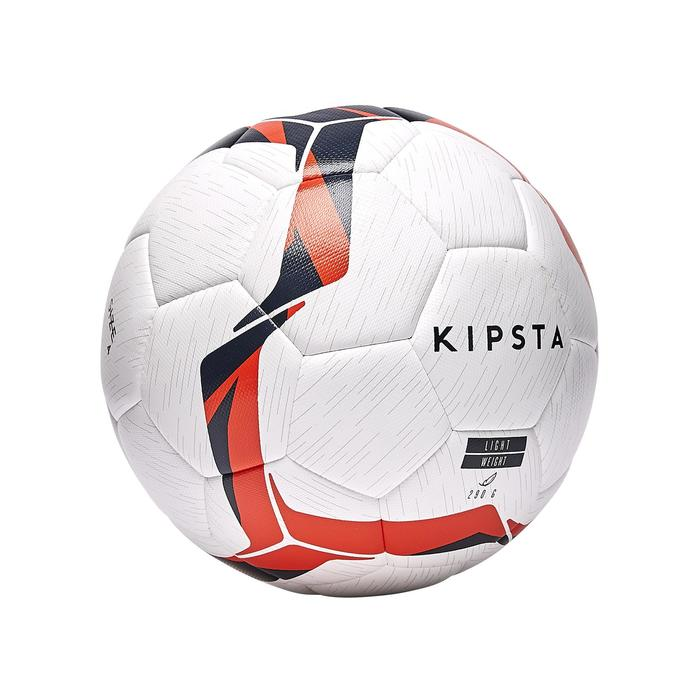 BALLON DE FOOTBALL HYBRIDE F100 LIGHT TAILLE 4 BLANC ORANGE ET BLEU