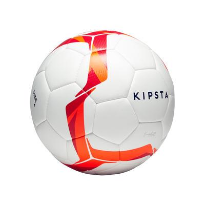 Ballon de football Hybride F100 taille 4 blanc/rouge