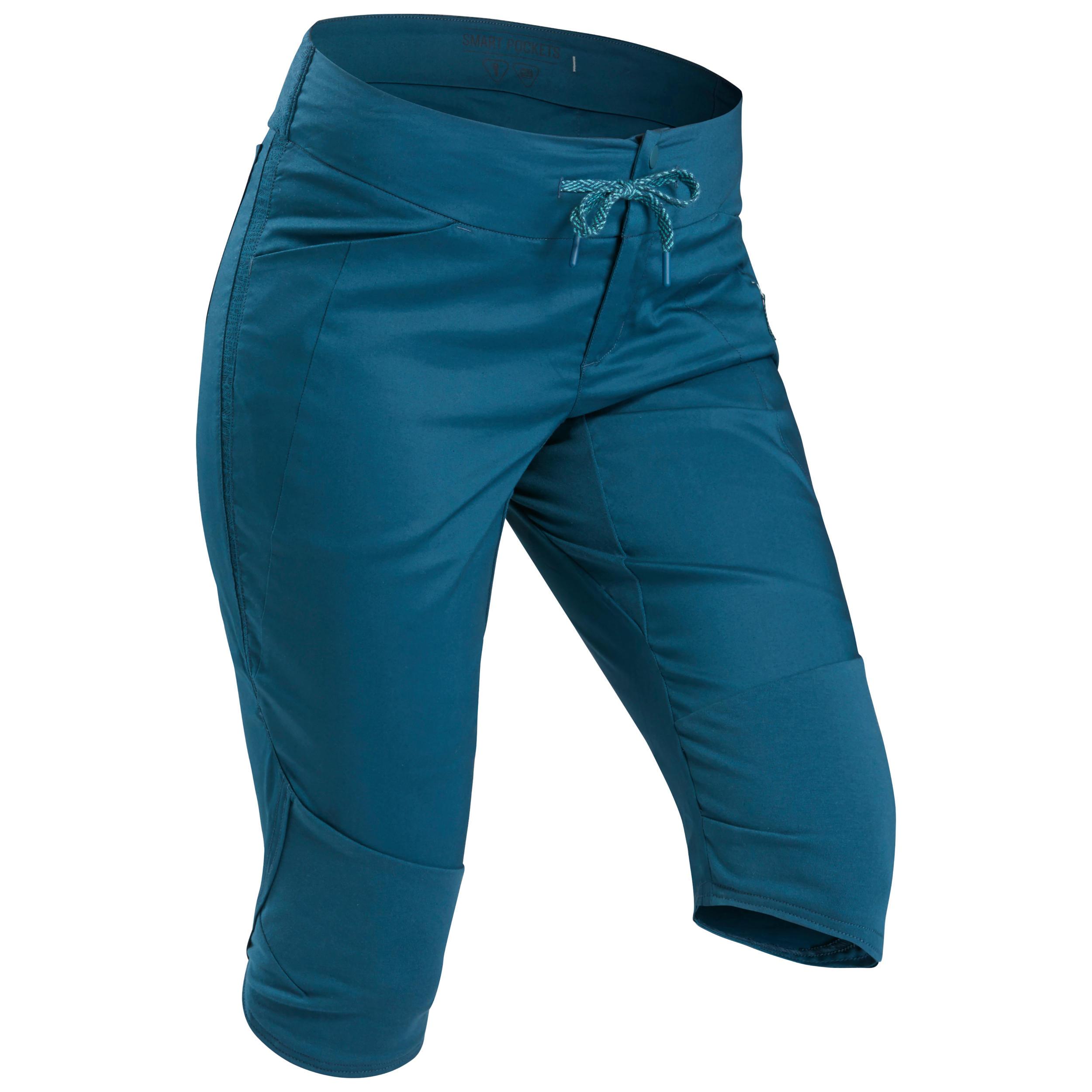 Wanderhose Dreiviertel-Hose Naturwandern NH500 Damen blau