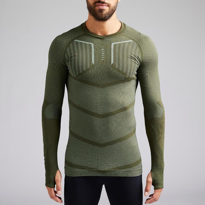 Thermoshirt Keepdry 500 lange mouw kaki unisex