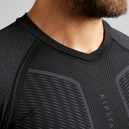 Men's Long-Sleeved Football Base Layer Top Keepdry 500 - Black