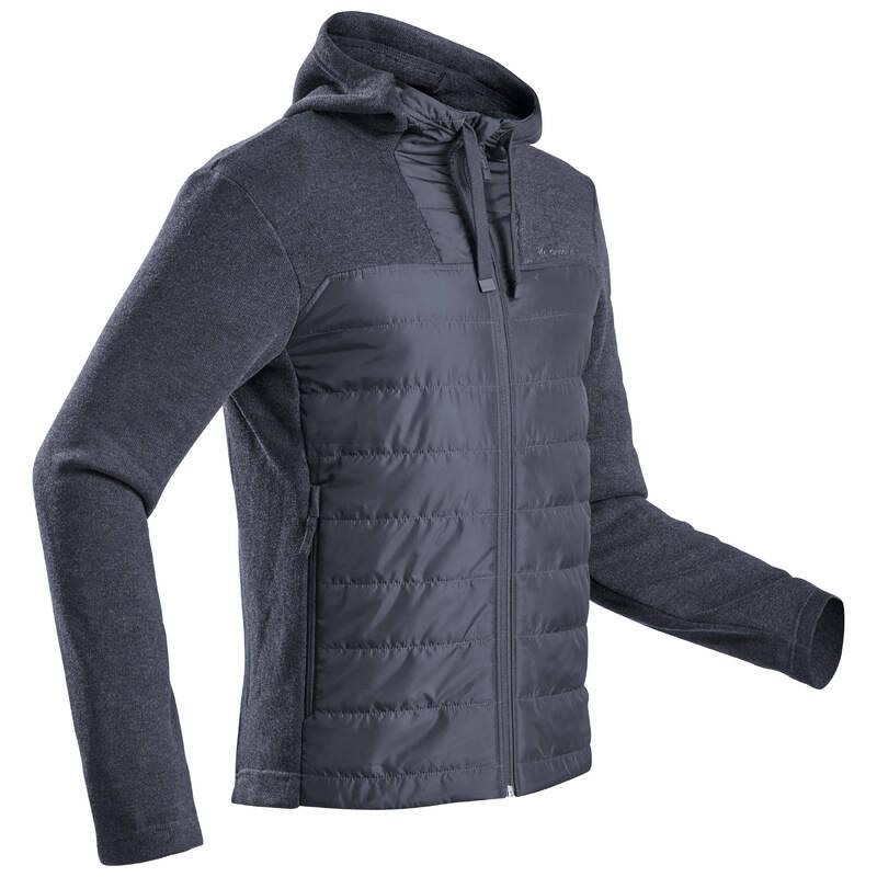 PÁNSKÉ TURISTICKÉ SVETRY A MIKINY Turistika - Hybridní svetr NH 100 černý QUECHUA - Turistické oblečení
