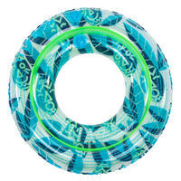 Kids' Inflatable Swim Ring 65 cm 6-9 Years - Transparent Green/Blue
