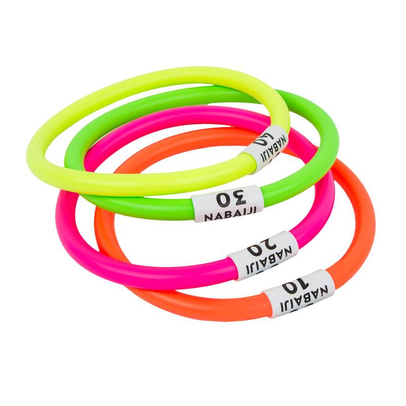 4 anneaux aquatiques lestés multi couleurs
