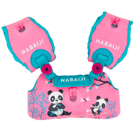 "Kids' Swimming TISWIM Progressive Armbands-Waistband - Pink ""PANDA"" Print"