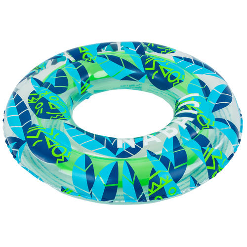 Bouée piscine gonflable 65 cm transparente vert/bleu pour enfants de 6-9 ans