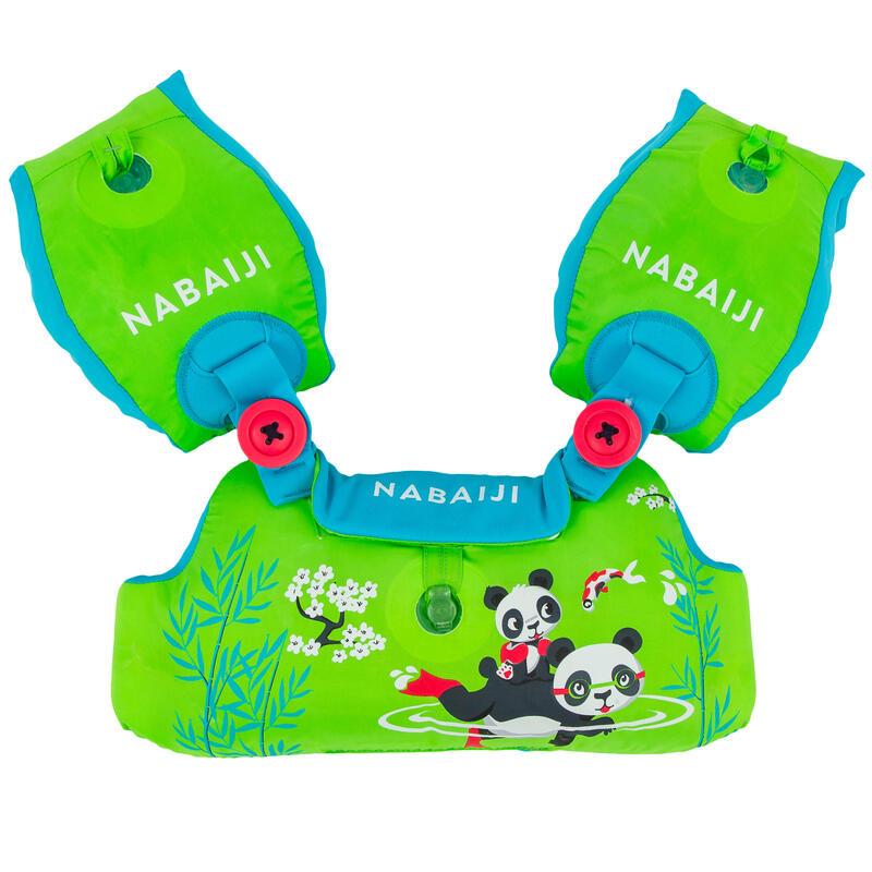 Centură cu aripioare înot TISWIM Imprimeu Panda Verde Copii 2-6 ani