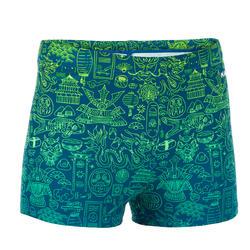 Zwemboxer voor jongens 500 Fitib All City blauw/geel