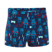 BOY'S 500 FITIB SWIMMING SHORTS - ALL ROBOT RED BLUE
