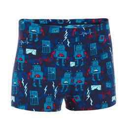 Zwemboxer voor jongens 500 Fitib All Robot rood/blauw