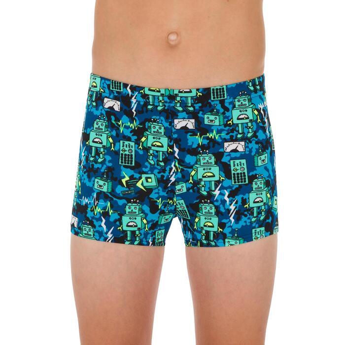 Zwemboxer voor jongens 500 Fitib All Robot groen/blauw
