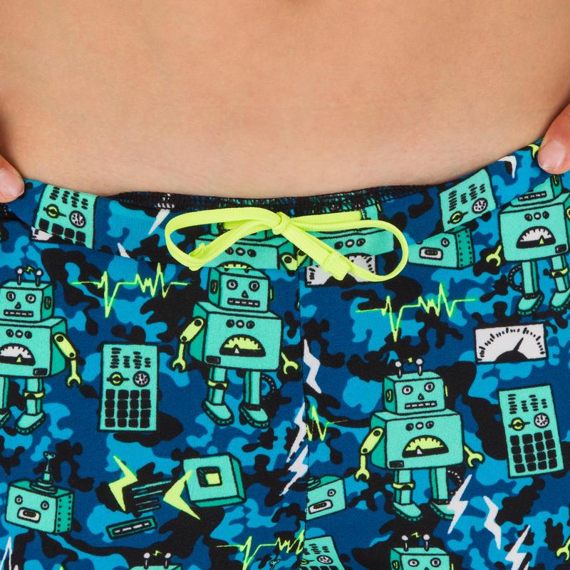 กางเกงว่ายน้ำขาสั้นสำหรับเด็กผู้ชายรุ่น FITIB (สีเขียวพิมพ์ลายหุ่นยนต์)