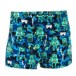 男童款四角泳褲500 FITIB 滿版機器人綠藍色