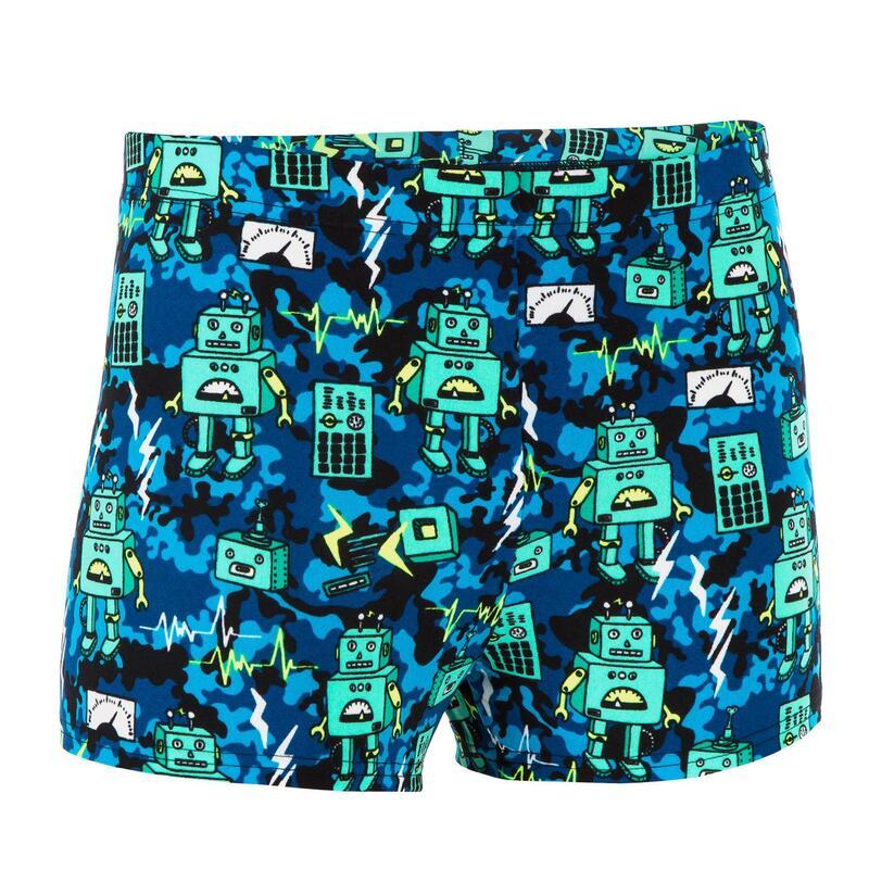 Chlapecké boxerkové plavky FITIB ALL ROBOT modro-zelené