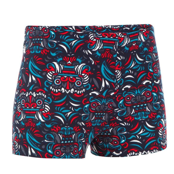 Zwemboxer voor jongens 500 Fitib All Mask rood/blauw