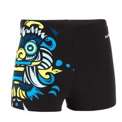 Zwemboxer voor jongens 500 Fitib zwart met geel/blauw masker