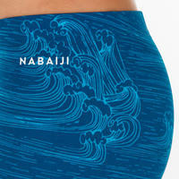 BOY'S BOXER SWIMMING SHORTS Boy 500 FITIB ALL SEA BLUE