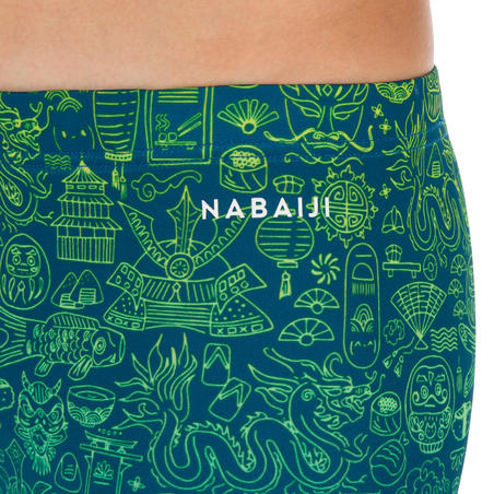 BOY'S BOXER BATHING SUIT 500 FITIB ALL CITY YELLOW