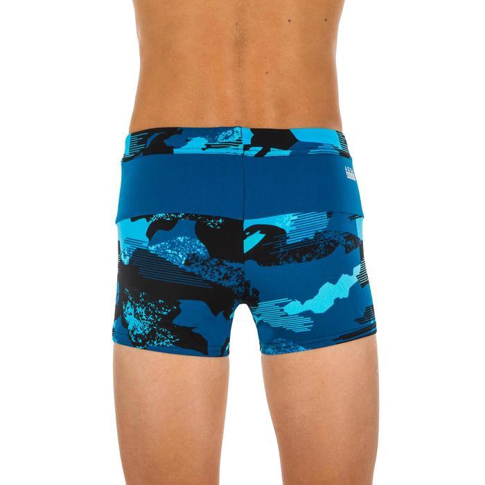 Badehose Boxer 100 Pool Camo Kinder Jungen chlorresistent blau