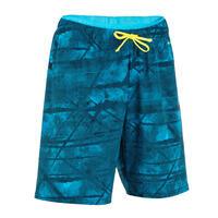 BOYS' SWIMMING SWIM SHORTS 100 - LONG TEX BLUE