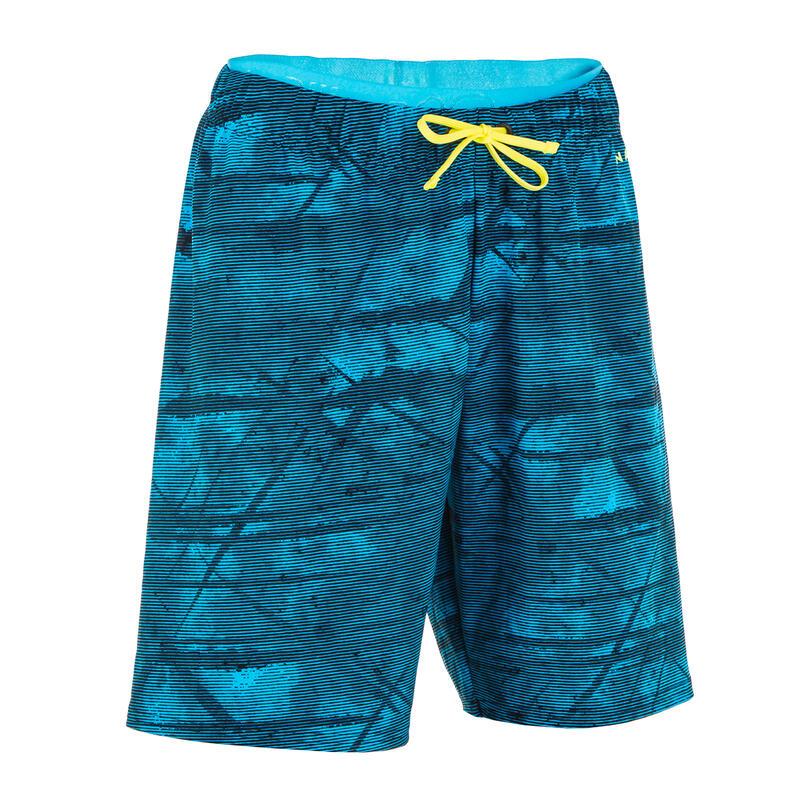 Lange zwembroek voor jongens 100 Tex blauw