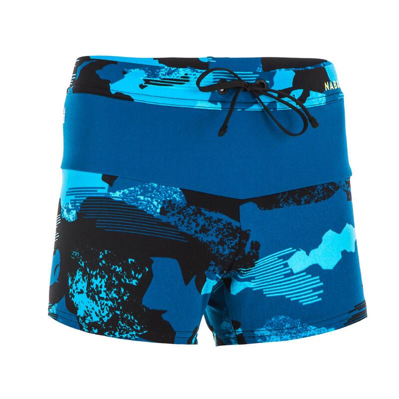 Zwemboxer jongens 100 Pool camouflage blauw