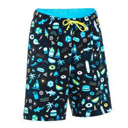 男童款泳褲100-長灘黑
